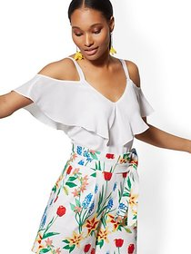 White Ruffle Cold-Shoulder Top - New York & Compan