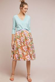 Anthropologie Pixilated Tulle Midi Skirt