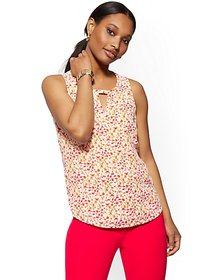 Floral Keyhole Sleeveless Top - New York & Company