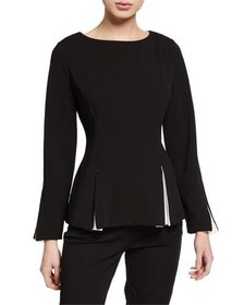 Donna Karan Flare Blouse w/ Contrast Insets