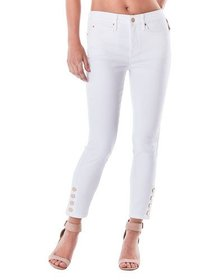 Nicole Miller High-Rise Skinny Jeans with Buttons