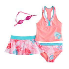 Girls 4-6x ZeroXposur Tankini Top, Bottoms & Tropi
