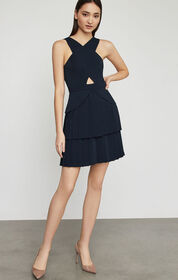 BCBG Crisscross Pleated Peplum Dress
