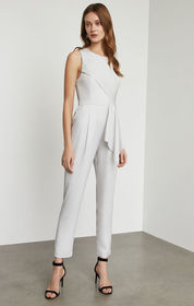 BCBG Metallic Pleated Front Jumpsuit