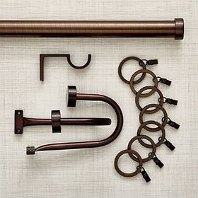 Crate Barrel CB Matte Bronze Curtain Hardware