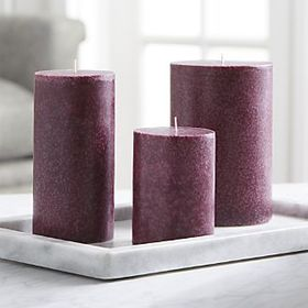 Crate Barrel Mulberry Wine Scented Pillar Candle3x