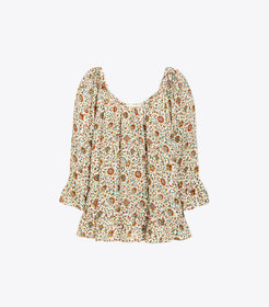 Tory Burch Printed Ruffle Blouse