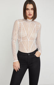 BCBG Geo Stripe Turtleneck Bodysuit