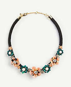 Tortoiseshell Print Flower Statement Necklace