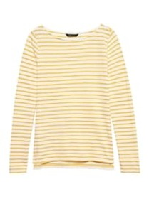 Petite Slub Cotton-Modal Boat-Neck T-Shirt