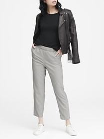 Hayden Tapered-Fit Check Pull-On Ankle Pant