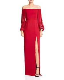 HALSTON HERITAGE - Off-the-Shoulder Gown