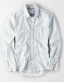 American Eagle AE Long Sleeve Striped Denim Button
