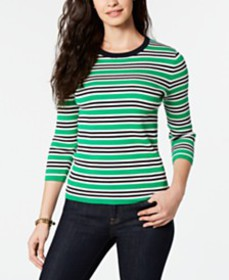 Tommy Hilfiger Cotton Striped Ribbed Sweater, Crea