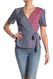 BCBGeneration Wrap Front Striped Top