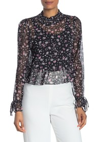 BCBGeneration Smocked Woven Floral Top