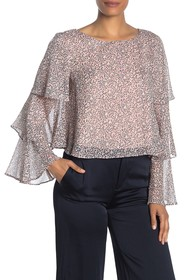 BCBGeneration Tiered Long Ruffle Sleeve Blouse