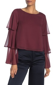 BCBGeneration Tiered Ruffle Long Sleeve Woven Top