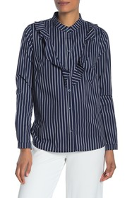 BCBGeneration Ruffle Front Long Sleeve Woven Top