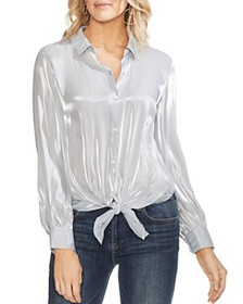 VINCE CAMUTO - Striped Organza Tie-Front Blouse