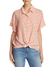 7 For All Mankind - Tie-Front Printed-Silk Top