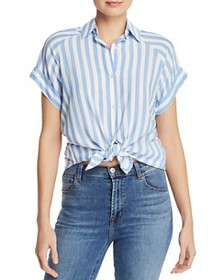 7 For All Mankind - Striped Tie-Front Shirt