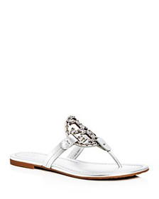 Tory Burch - Women's Miller Embellished Thong Sand