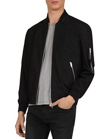 The Kooples - Cotton Bomber Jacket with Leather-Tr