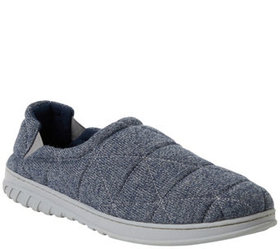 Dearfoams Men's Heathered Knit Quilted Closed Back