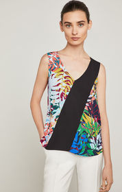 BCBG Aryona Floral Colorblocked Top