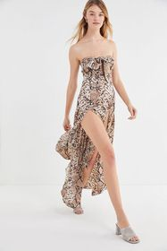 Lioness Adrianne Strapless Snake Print Maxi Dress