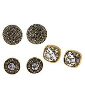 "Heidi Daus ""What a Stud II"" Set of 3 Crystal Earri"