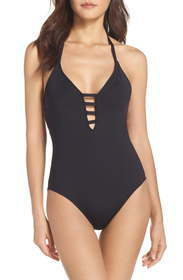 La Blanca Caged Strap One-Piece Halter Swimsuit