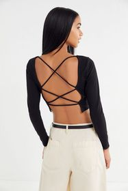 UO Kaia Strappy Open-Back Cropped Top