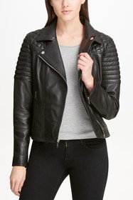 DKNY Solid Quilted Asymmetrical Moto Jacket