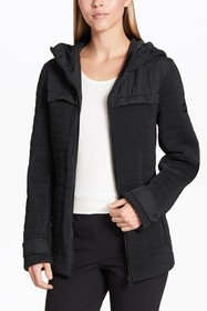 DKNY Quilted Zip Front Hooded Jacket
