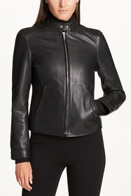 DKNY Solid Zip Front Jacket