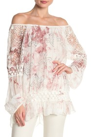 Lola Made In Italy Crochet Lace Printed Blouse