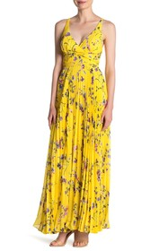 Laundry By Shelli Segal Floral Pleated Maxi Dress