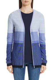 St. John Collection Stripe Cashmere Cardigan