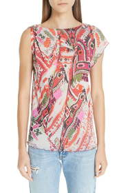 Fuzzi Print Tulle One-Sleeve Top