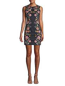 Alice + Olivia Floral-Embroidered Sheath Dress IND