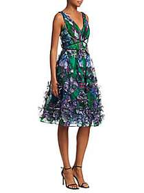 Marchesa Sleeveless V-Neck 3D-Printed Fit-&-Flare