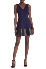 Love...Ady Faux Leather Fit Flare Dress