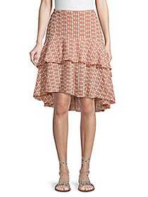 Walter Baker Embroidered High-Low Skirt PEACH