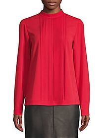 HUGO BOSS Pleated Stretch-Crepe Top BRIGHT RED