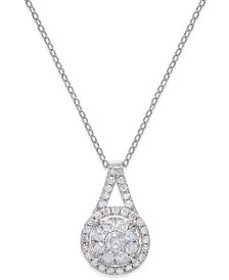 "Diamond Pendant 18"" Necklace (1/2 ct. t.w.) in Ste"