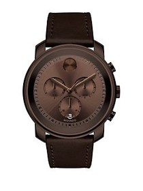 Movado BOLD Leather Strap Watch GOLD BROWN