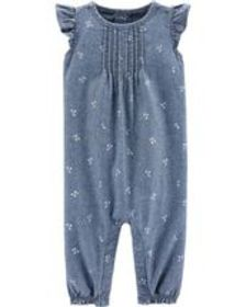 carters Baby Girl Chambray Flutter Jumpsuit