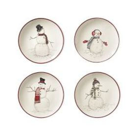 Snowman Mixed Appetizer Plates, Set of 4